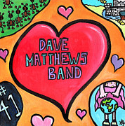 Hearts Drawings Framed Prints - Dave Matthews Band Tribute Framed Print by Jera Sky
