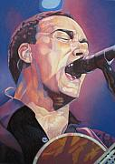 Band Drawings Prints - Dave Matthews Colorful Full Band Series Print by Joshua Morton