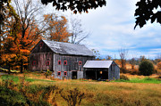 Old Barns Framed Prints - Davenport Farm - Connecticut Scenic Framed Print by Thomas Schoeller