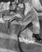 Homoerotic Drawings - Daves Break by Brent  Marr