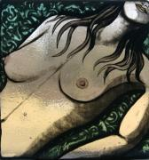 Nudes Glass Art - Daves girl by Valerie Lynn