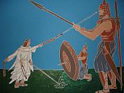 David And Goliath Paintings - David And Goliath by Daniel Henning