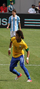 Neymar Photos - David and Goliath Lionel Messi and Neymar Junior by Lee Dos Santos