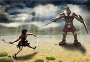 Anti-bullying Framed Prints - David and Goliath Framed Print by Shane Robinson