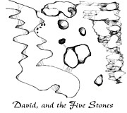 David Drawings - David and the Five Stones by Gene Nieves