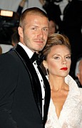 Exhibition Opening Night Party Framed Prints - David Beckham And Victoria Beckham Framed Print by Everett