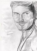 Soccer Drawings Originals - David Beckham by Colin Hockless