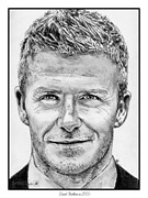 Soccer Drawings Prints - David Beckham in 2009 Print by J McCombie