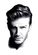 Posh Drawings Posters - David Beckham in Graphite Poster by Mike Bruce