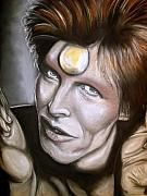 Roll Pastels Framed Prints - David Bowie as Ziggy Stardust Framed Print by Zach Zwagil