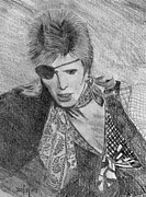 David Bowie Drawings - David Bowie by Chris Fader