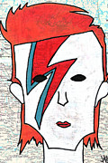 Lightning Drawings Prints - David Bowie Print by Jera Sky