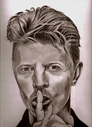 Ziggy Stardust Drawings - David Bowie by John Gambrill