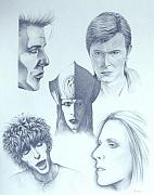 David Bowie Drawings - David Bowie by Mark Alessio
