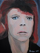 Rock And Roll Art Painting Originals - David Bowie the Early Years by Jeannie Atwater Jordan Allen