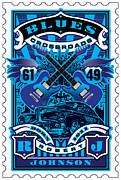 David Cook Umgx Vintage Studios Blues Crossroads Illustrated Stamp Art Poster Print by UMGX Vintage Studios