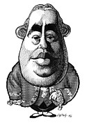 Caricature Portraits Posters - David Hume, Caricature Poster by Gary Brown