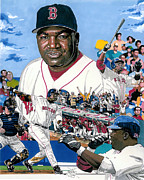 Mlb Baseball Drawings Originals - David ortiz by Neal Portnoy