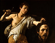 Caravaggio Painting Metal Prints - David Showing Goliaths Head Metal Print by Caravaggio