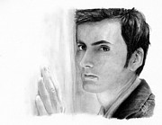 Charcoal Portrait Posters - David Tennant 2 Poster by Rosalinda Markle