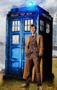 Dr. Who Posters - David Tennant as Doctor Who and Tardis Poster by Elizabeth Coats