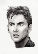 Charcoal Portrait Posters - David Tennant Poster by Rosalinda Markle