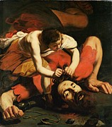 Bible Painting Prints - David with the Head of Goliath Print by Michelangelo Caravaggio