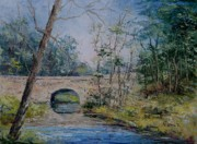 Arkansas Paintings - Davies Bridge in Spring by Virginia Potter