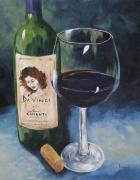 Red Wine Painting Originals - DaVinci Chianti for One   by Torrie Smiley