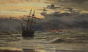Sunset Seascape Framed Prints - Dawn After the Storm Framed Print by William Lionel Wyllie