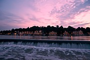"""schuylkill River""  Prints - Dawn at Boathouse Row Print by Bill Cannon"