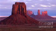Monoliths Posters - Dawn at Monument Valley Poster by Sandra Bronstein
