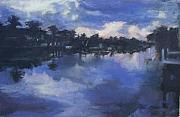 Dawn Pastels Posters - Dawn At The Dock Poster by Patricia Maguire