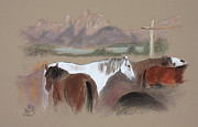 Jackson Pastels Prints - Dawn at Triangle X Corrals Jackson Hole Print by Paul Miller