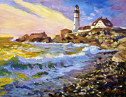 East Coast Lighthouse Paintings - Dawn Breaks Cape Elizabeth plein air by David Lloyd Glover