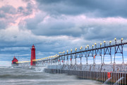 Grand Haven Prints - Dawn Grand Haven Lighthouse Print by Dean Pennala