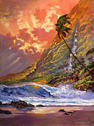 Waterfalls Painting Metal Prints - Dawn in Oahu Metal Print by David Lloyd Glover