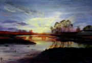 Reflections Of Sun In Water Prints - Dawn Print by Jane Autry