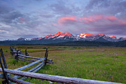 Snow-covered Landscape Art - Dawn light on the Sawtooth Mountains by Keith Kapple