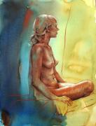 Female Figure Drawings Drawings Posters - Dawn Meditation Poster by Peggi Habets