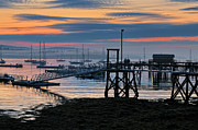 Fishing Dock Posters - Dawn of A New Day - Maine Fishing Harbor Poster by Thomas Schoeller