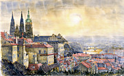 Watercolor Framed Prints - Dawn of Prague Framed Print by Yuriy  Shevchuk