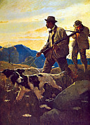 Dogs Art - Dawn Of The Open Season by N C Wyeth