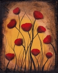 Abstract Hearts Paintings - Dawn of the Poppies by  Abril Andrade Griffith