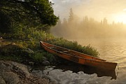 Canoe Photo Prints - Dawn on Boot Lake Print by Larry Ricker
