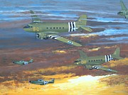 Mustang Paintings - Dawn on D-day by Dennis D Vebert