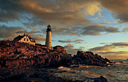 Maine Prints - Dawn on Portland Head Light Print by Cynthia Farr-Weinfeld