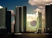 Miami Digital Art Posters - Dawn or Dusk Poster by Juana Maria Garcia-Domenech