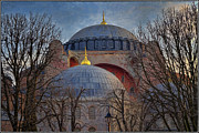 Hagia Posters - Dawn over Hagia Sophia Poster by Joan Carroll