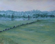 Dawn Pastels Posters - Dawn Over The Railroad Cut-Gettysburg Poster by Joann Renner
